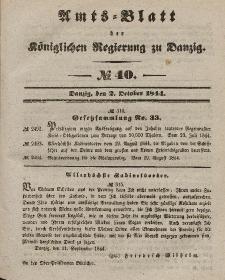 Amts-Blatt der Königlichen Regierung zu Danzig, 2. Oktober 1844, Nr. 40