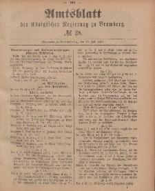Amtsblatt der Königlichen Preußischen Regierung zu Bromberg, 10. Juli 1885, Nr. 28