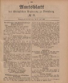 Amtsblatt der Königlichen Preußischen Regierung zu Bromberg, 31. Juli 1885, Nr. 31