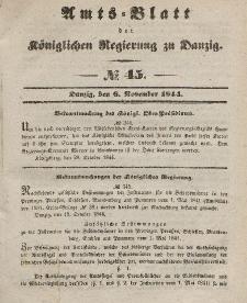 Amts-Blatt der Königlichen Regierung zu Danzig, 6. November 1844, Nr. 45