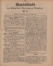 Amtsblatt der Königlichen Preußischen Regierung zu Bromberg, 14. August 1885, Nr. 33