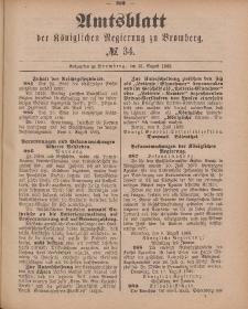 Amtsblatt der Königlichen Preußischen Regierung zu Bromberg, 21. August 1885, Nr. 34