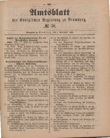 Amtsblatt der Königlichen Preußischen Regierung zu Bromberg, 4. September 1885, Nr. 36