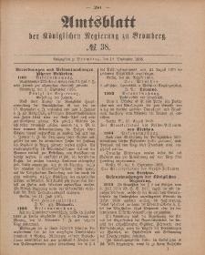 Amtsblatt der Königlichen Preußischen Regierung zu Bromberg, 18. September 1885, Nr. 38