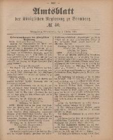 Amtsblatt der Königlichen Preußischen Regierung zu Bromberg, 2. Oktober 1885, Nr. 40
