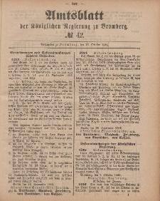 Amtsblatt der Königlichen Preußischen Regierung zu Bromberg, 16. Oktober 1885, Nr. 42