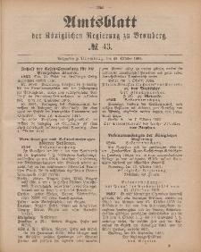 Amtsblatt der Königlichen Preußischen Regierung zu Bromberg, 23. Oktober 1885, Nr. 43