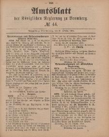 Amtsblatt der Königlichen Preußischen Regierung zu Bromberg, 30. Oktober 1885, Nr. 44