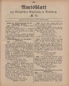 Amtsblatt der Königlichen Preußischen Regierung zu Bromberg, 6. November 1885, Nr. 45