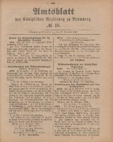 Amtsblatt der Königlichen Preußischen Regierung zu Bromberg, 27. November 1885, Nr. 48