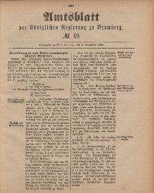 Amtsblatt der Königlichen Preußischen Regierung zu Bromberg, 4. Dezember 1885, Nr. 49