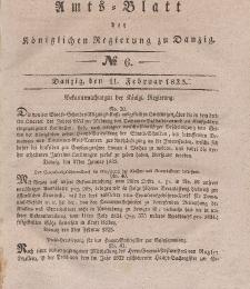 Amts-Blatt der Königlichen Regierung zu Danzig, 11. Februar 1835, Nr. 6