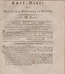 Amts-Blatt der Königlichen Regierung zu Danzig, 8. Juli 1835, Nr. 27