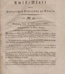 Amts-Blatt der Königlichen Regierung zu Danzig, 11. November 1835, Nr. 45