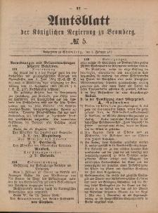 Amtsblatt der Königlichen Preußischen Regierung zu Bromberg, 3. Februar 1888, Nr. 5