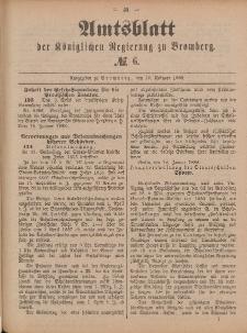 Amtsblatt der Königlichen Preußischen Regierung zu Bromberg, 10. Februar 1888, Nr. 6