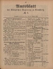 Amtsblatt der Königlichen Preußischen Regierung zu Bromberg, 24. Februar 1888, Nr. 8
