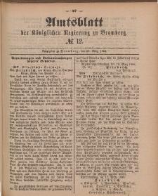 Amtsblatt der Königlichen Preußischen Regierung zu Bromberg, 23. März 1888, Nr. 12