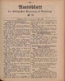 Amtsblatt der Königlichen Preußischen Regierung zu Bromberg, 13. April 1888, Nr. 15