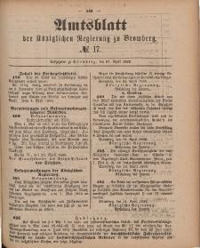 Amtsblatt der Königlichen Preußischen Regierung zu Bromberg, 27. April 1888, Nr. 17