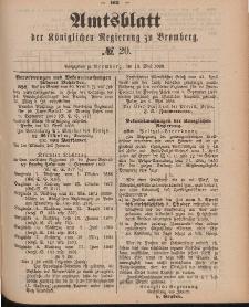 Amtsblatt der Königlichen Preußischen Regierung zu Bromberg, 18. Mai 1888, Nr. 20