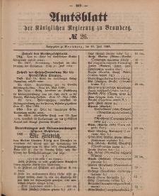 Amtsblatt der Königlichen Preußischen Regierung zu Bromberg, 29. Juni 1888, Nr. 26