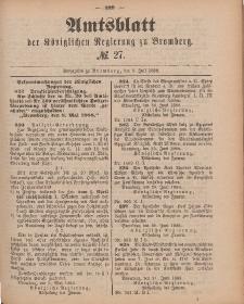 Amtsblatt der Königlichen Preußischen Regierung zu Bromberg, 6. Juli 1888, Nr. 27