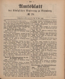 Amtsblatt der Königlichen Preußischen Regierung zu Bromberg, 13. Juli 1888, Nr. 28