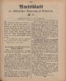 Amtsblatt der Königlichen Preußischen Regierung zu Bromberg, 3. August 1888, Nr. 31