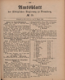 Amtsblatt der Königlichen Preußischen Regierung zu Bromberg, 17. August 1888, Nr. 33