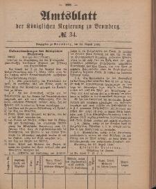 Amtsblatt der Königlichen Preußischen Regierung zu Bromberg, 24. August 1888, Nr. 34