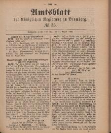 Amtsblatt der Königlichen Preußischen Regierung zu Bromberg, 31. August 1888, Nr. 35