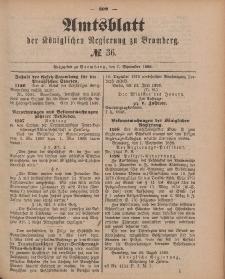 Amtsblatt der Königlichen Preußischen Regierung zu Bromberg, 7. September 1888, Nr. 36
