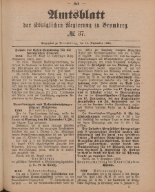 Amtsblatt der Königlichen Preußischen Regierung zu Bromberg, 14. September 1888, Nr. 37
