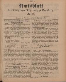 Amtsblatt der Königlichen Preußischen Regierung zu Bromberg, 21. September 1888, Nr. 38