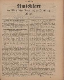 Amtsblatt der Königlichen Preußischen Regierung zu Bromberg, 28. September 1888, Nr. 39