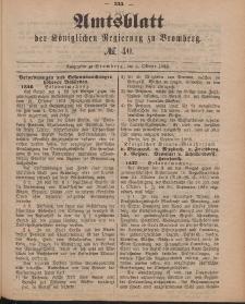 Amtsblatt der Königlichen Preußischen Regierung zu Bromberg, 5. Oktober 1888, Nr. 40