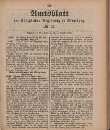 Amtsblatt der Königlichen Preußischen Regierung zu Bromberg, 12. Oktober 1888, Nr. 41