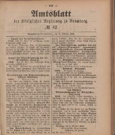 Amtsblatt der Königlichen Preußischen Regierung zu Bromberg, 19. Oktober 1888, Nr. 42