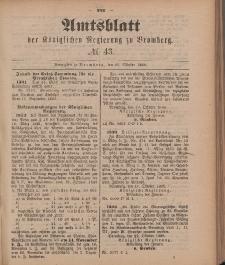 Amtsblatt der Königlichen Preußischen Regierung zu Bromberg, 26. Oktober 1888, Nr. 43