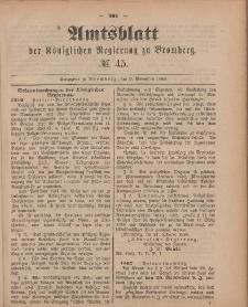 Amtsblatt der Königlichen Preußischen Regierung zu Bromberg, 9. November 1888, Nr. 45