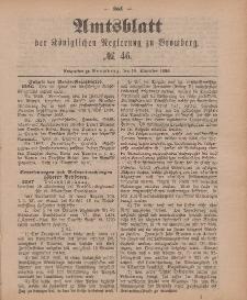 Amtsblatt der Königlichen Preußischen Regierung zu Bromberg, 16. November 1888, Nr. 46