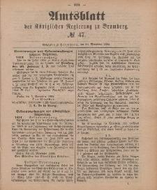Amtsblatt der Königlichen Preußischen Regierung zu Bromberg, 23. November 1888, Nr. 47