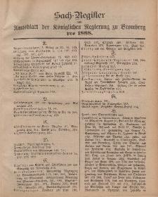 Amtsblatt der Königlichen Preußischen Regierung zu Bromberg, 1888 (Sach-Register)
