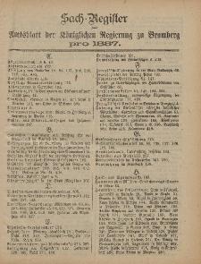 Amtsblatt der Königlichen Preußischen Regierung zu Bromberg, 1887 (Sach-Register)