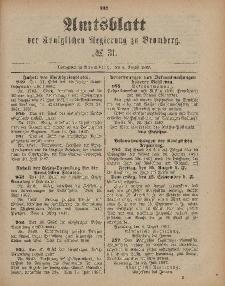 Amtsblatt der Königlichen Preußischen Regierung zu Bromberg, 5. August 1887, Nr. 31