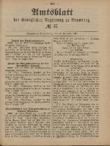 Amtsblatt der Königlichen Preußischen Regierung zu Bromberg, 16. September 1887, Nr. 37