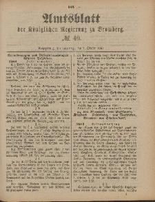 Amtsblatt der Königlichen Preußischen Regierung zu Bromberg, 7. Oktober 1887, Nr. 40