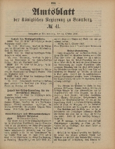 Amtsblatt der Königlichen Preußischen Regierung zu Bromberg, 14. Oktober 1887, Nr. 41