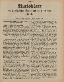 Amtsblatt der Königlichen Preußischen Regierung zu Bromberg, 21. Oktober 1887, Nr. 42